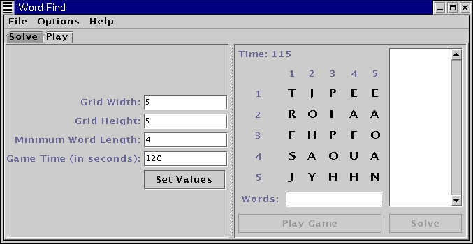 Word Find play, puzzle with letters